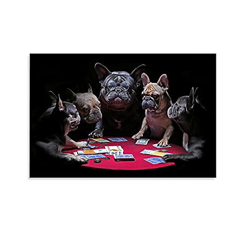 woplmh Animal Art Poster French Bulldog Playing Poker Humorous Animal Painting Poster Decorative Painting Canvas Wall Art Living Room Posters Bedroom Painting 12x18inch(30x45cm)
