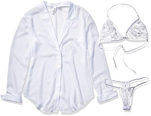 Dreamgirl womens Chiffon Shirt Style Robe With Halter Top Bra and Thong lingerie sets, White, Large US