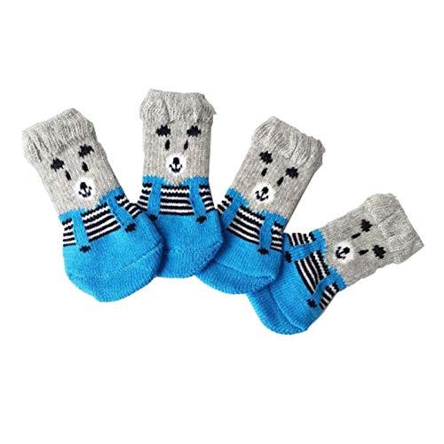 Gazechimp Zapatos de Invierno para Perros, Calcetines de Punto Antideslizantes, Zapatos Pequeños para Gatos Y Mascotas, Protector de Patas Gruesas Y Cálidas, Ca - M Oso