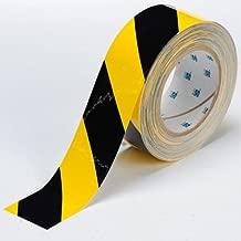 Brady ToughStripe Nonabrasive Diagonal Stripes Floor Marking Tape, 100' Length, 4