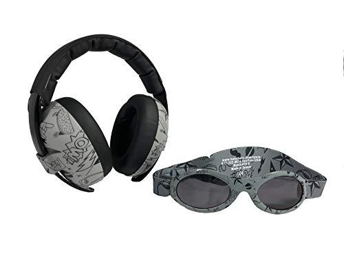 BANZ Ohrenschützer mit Gehörschutz und Sonnenbrille für Babys und Kleinkinder (Kombipaket) grau Doodle