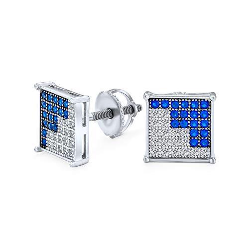 Geometric dos tonos negro o azul blanco Zig Zag cuadrado Micro Pave Cubic Zirconia CZ Stud Pendientes para hombres plata de ley