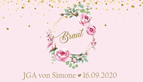 Livingstyle & wanddesign vrijgezellenfeest JGA team bruid bloemenkrans banderol voor blikjes, roze Braut einzeln rosa roze