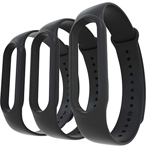 AWINNER Bands Compatible with Xiaomi Mi Band 5 Smartwatch Wristbands Replacement Band Accessaries Straps Bracelets for Mi5 (3-Black)