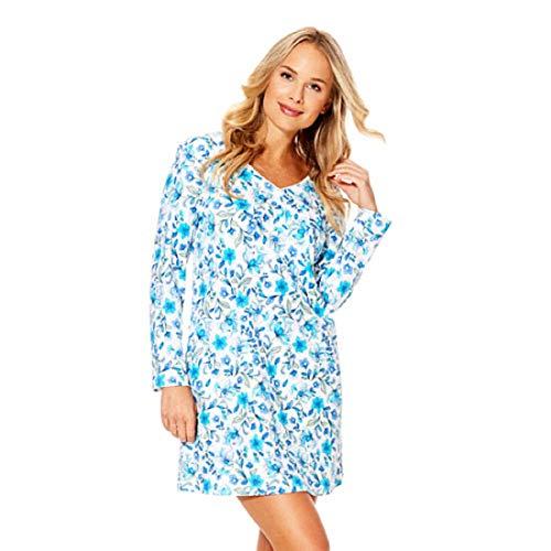 Karen Neuburger Women's Blue Floral Long Sleeve Knit Night Shirt Gown (Medium)