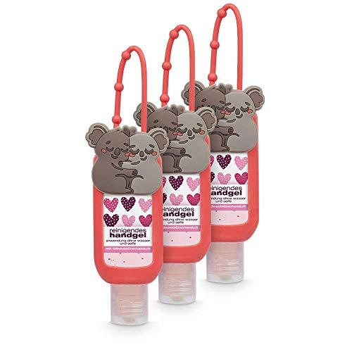 dulgon reinigendes Handgel mit Koala Motivhülle - 3er Pack Hygiene Hand Gel mit Gänseblümchenduft ideal für die Handtasche oder unterwegs - Hygiene für die Hände 50 ml
