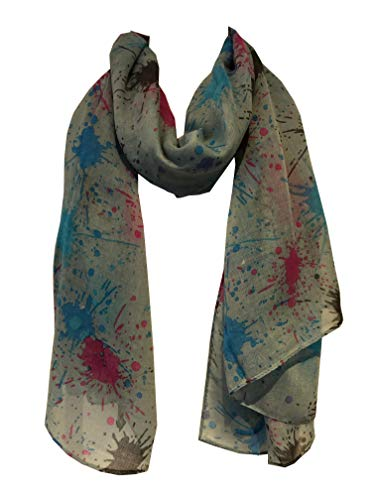 Pamper Yourself Now Leichte aqua mit Multi-farbigen spritzt Schal/wrap- Light aqua with multi coloured splashes scarf/wrap