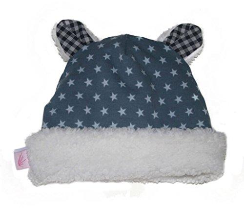 Farbgewitter Jungen Baby Mütze Fleece-Mütze mit Ohren Sterne in blau Größe S (KU 45-49 cm)