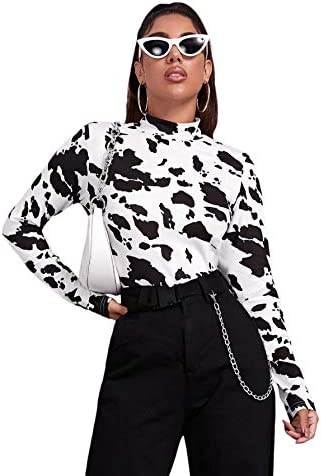 WDIRARA Women s Cow Print Mock Neck Long Sleeve Tee Casual Stretch T Shirts Top Black and White product image