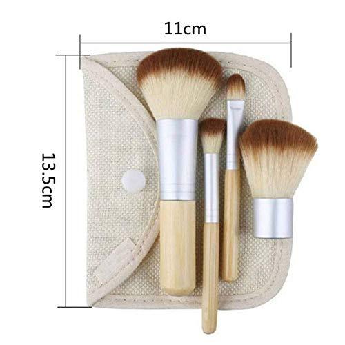 GONGFF 4pcs Pinceau de Maquillage en Bambou Professionnel avec Sac Visage Ombre à paupières Fondation Blush Brush