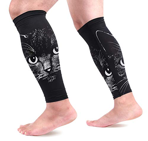 Bikofhd Cat Head Calf Compression Sleeves 1 Pair, Leg Performance Support for Shin Splint Calf Pain Relief Men & Women Guards Sleeves for Running Cycling