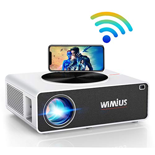 "WiFi Projector, WiMiUS K3 7500 Lux Video Projector Native 1920x1080 Indoor and Outdoor Projector Support 4K 300"" Display Zoom Function Works with Fire TV Stick PC DVD PS4 Smartphones (White)"