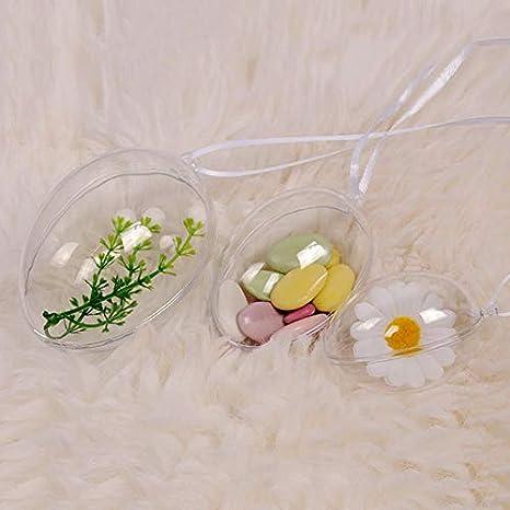 Transparent 2.48 x 1.77 inches plastica Fgasad 10/pz uova di plastica trasparente da appendere DIY riempibile decorativo ciondolo festive party Home Decor