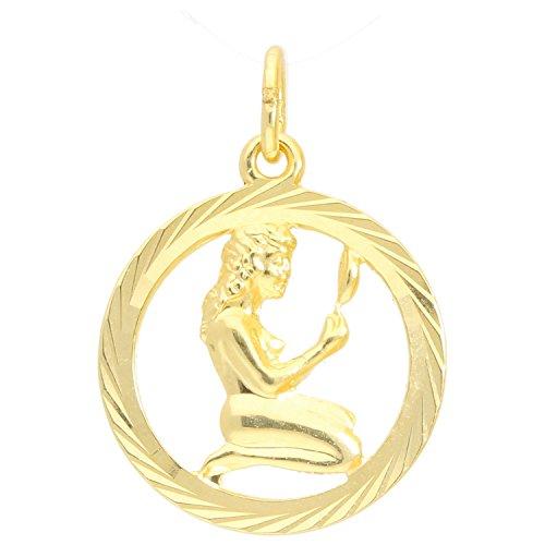 Sternzeichen Anhänger Jungfrau (Ohne Kette) Gelbgold 333 Gold (8 Karat) Ø 15mm Rund Tierkreiszeichen Horoskop Sternbild Goldanhänger Gavno V0005611