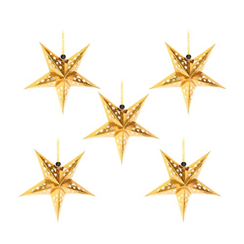Uonlytech 5 Stück Papier Sternlaternen 45cm Stern Lampenschirm Hängende Weihnachtsdekorationen für Hochzeit Geburtstagsfeier Wohnkultur Weihnachten Halloween (golden)