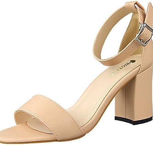 BGYHU Ggx femme Chaussures PU d'été talons talons décontracté Chunky Talon d'autres Noir rouge blanc gris ahommede camel