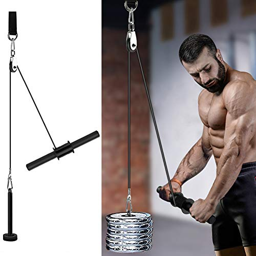 Pellor Forearm Wrist Blaster Roller, Arm Strength Trainer with Pulley for Gym Home Easy Install [Grip Wire Rope and Steel Pipe]