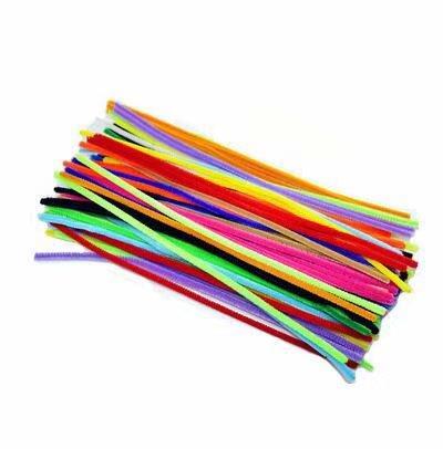 Lot de 100 fils chenille/cure-pipes pour loisirs créatifs Artisanat Art Couleurs assorties (6 x 300 mm, Multicolore)