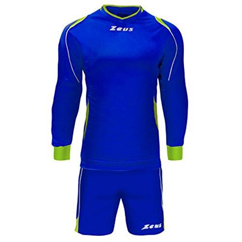 Zeus Kit complet maillot de gardien de foot Bleu électrique - Jaune fluo Electric Royal-Giallo Fluo-Bianco XXS