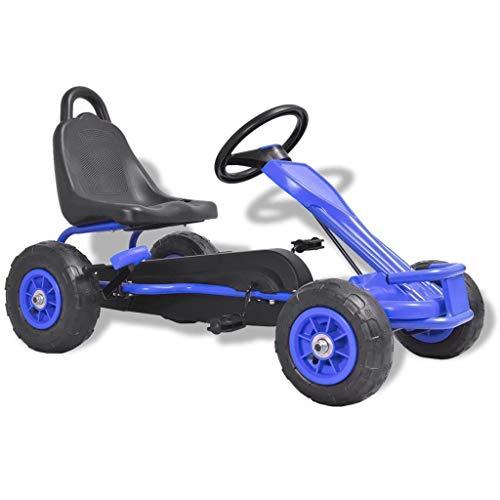 vidaXL Pedal Go-Kart mit Luftreifen Blau Kinder Rennwagen Sportwagen Tretauto