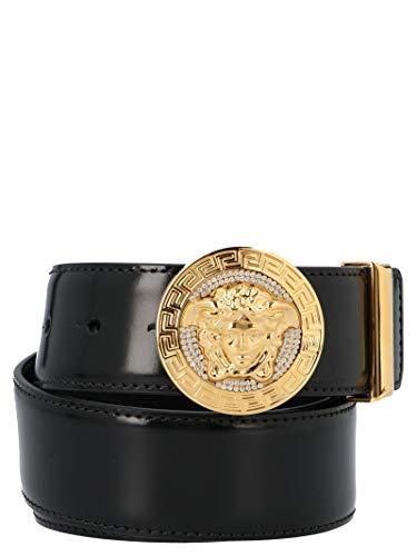 Versace Luxury Fashion Herren DCU4954DVS2D41CH Schwarz Leder Gürtel | Jahreszeit Permanent