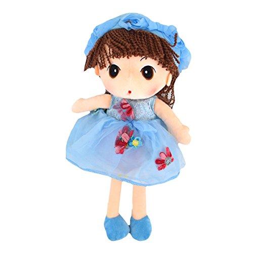 ABBY Enfant Poupées de Chiffon Poupée Princesse Mignonne en Peluche Bébé Doudou Poupon Cadeau Journée des Enfants Anniversaire Saint-Valentin Mariage Couleur Bleu Taille: 33CM