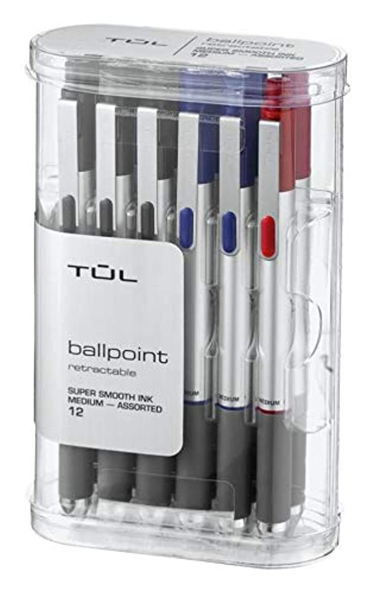 TUL BP3 Retractable Ballpoint Pens, Medium Point, 1.0 mm, Silver Barrel, Assorted Ink Colors, Pack of 12 Pens yyy373522048386