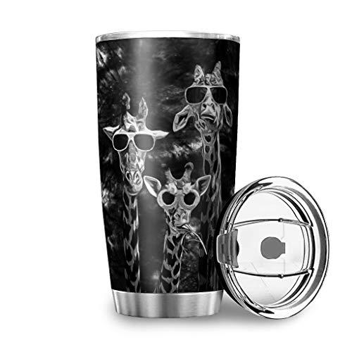 MiKiBi-77 Cool Giraffes - Vaso negro con tapa de acero inoxidable duradero con aislamiento al vacío, tazas de café, botella de agua para bebidas calientes y bebidas frías, color blanco 20 onzas