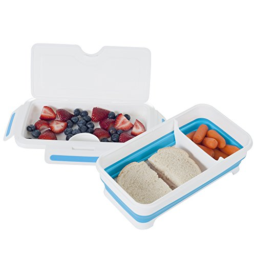 Classic Cuisine 82-HH094 Rectangular Expandable Lunch Box with Dividers, Clear