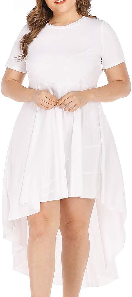 Agmibrelr Women's Plus Size Ruffle High Low Asymmetrical Short Sleeve Blouse Shirt Dress