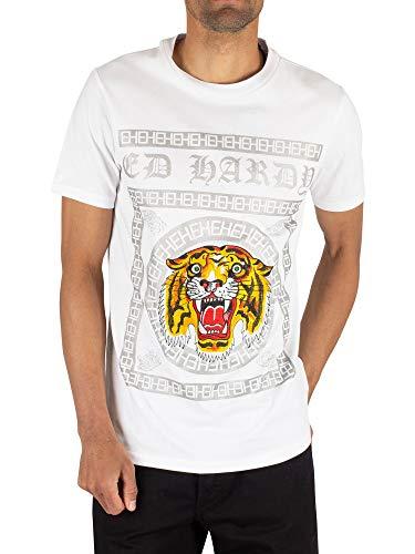 Ed Hardy | Tiger Tile Print Half Sleeve T-Shirt Large White