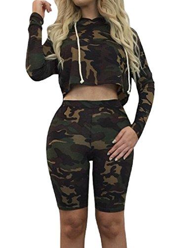Sorrica Women's Sexy 2 Piece Jumpsuit Sportswear Camo Hoody Pants Set Tracksuit (M, Camo)