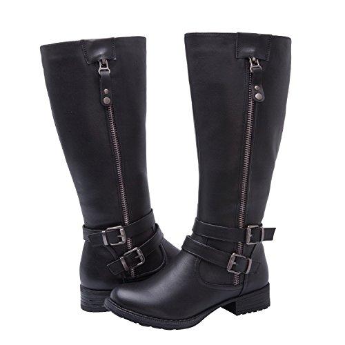 GLOBALWIN Women's Black Knee High Riding Boots 8.5M