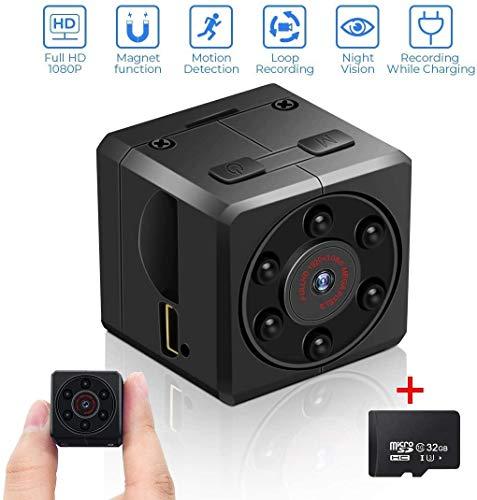 Mini Kamera mit 32G SD Karte, euskDE HD1080P Kamera Tragbar Nanny Cam Haustier Büro Garage Heim überwachungskamera IR Nachtsicht Kamera