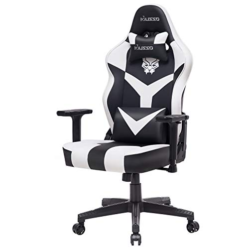 Musso White Gaming Chair with Panther Embroidery