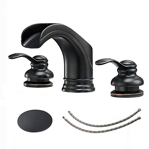 BWE 2-Handle Widespread Bathroom Faucet Oil Rubbed Bronze Waterfall 8 Inch 3 Holes Bathroom Sink Faucet with Pop Up Drain Assembly with Overflow Supper Line Lead-Free Lavatory Basin Vanity Mixer Tap