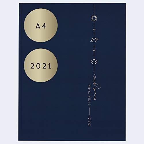 """JO & JUDY - Kalender""""Find you magic"""" 2021 in Blau mit Goldfolienprägung, 30 cm x 23 cm"""