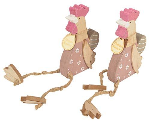 CHICCIE 2 Set Kantenhocker Huhn mit Baumelbeinen 14cm - Kantensitzer Tierfigur Figur