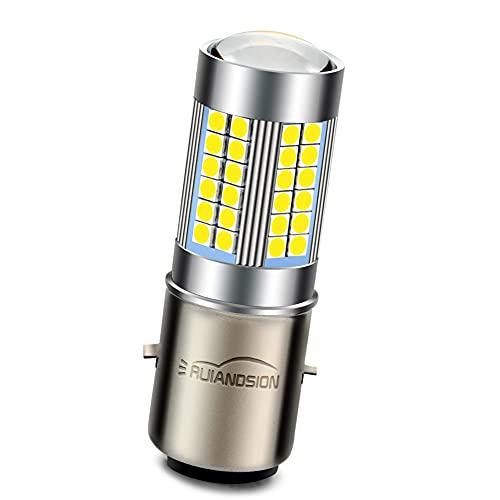 Ruiandsion 1pc DC 6V BA20D LED Lámpara Hi/Lo de doble haz LED 3030 60SMD Chipset con proyector Bombilla de Faro para Motocicletas, 6000K Blanco