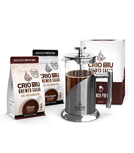 Crio Bru Welcome Starter Kit (2 10oz Bags + French Press) | Natural Healthy Brewed Cacao Drink | Great Substitute to Herbal Tea and Coffee | 99% Caffeine Free | Keto Honest Energy