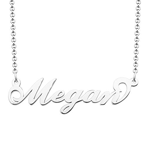Moonlight Collections Sterling Silver Custom Name Necklace Megan Personalized Necklace