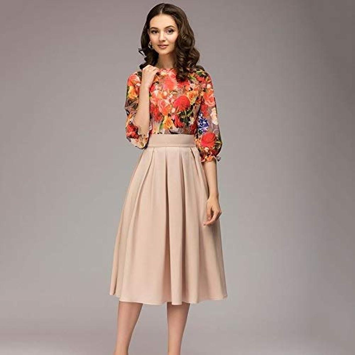 自慢感謝祭天のMaxcrestas - 夏ヴィンテージO-ネック半袖ブルーフローラルプリントAラインドレスエレガントな膝丈オフィスの女性のドレス