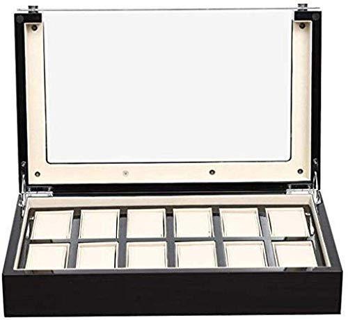 Caja de almacenamiento de reloj de madera, vitrina de 12 ranuras, regalo para hombres, alfombrilla desmontable, bandeja de valet para hombre, cubierta de vidrio, caja de almacenamiento de joyas