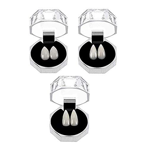 Jasminelady - 3 paia di cappellini per Halloween, vampiro zombie, zanne e lupo mannario, 3 paia