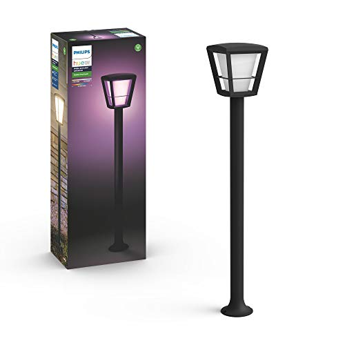 Philips Hue Econic Poste o columna LED inteligente negro, luz blanca y de colores, compatible con Amazon Alexa, Apple HomeKit y Google Assistant