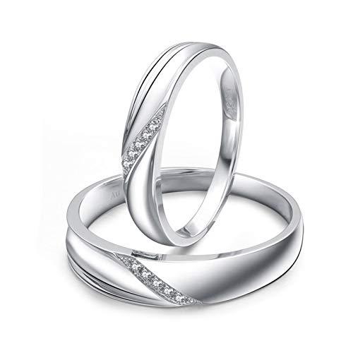 KnSam 18 Karat (750) Weißgold Ringe Einfache Gravierte Linie Eingelegten Diamanten 0.05Ct Verlobung Ring Herren EIN Paar Ringe Paarpreis Ringe Set Silber