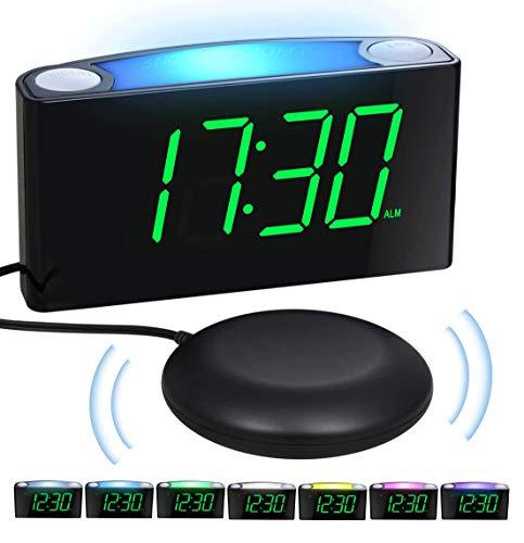Trilwekker voor Doven en Diepe Slapers, Wekker met Luid Alarm, Bedshaker, Groot LED-display en Dimmer, Kleur Veranderend Nachtlampje, USB-oplader, Batterijback-up, Bureau Reiswekker voor Slaapkamer