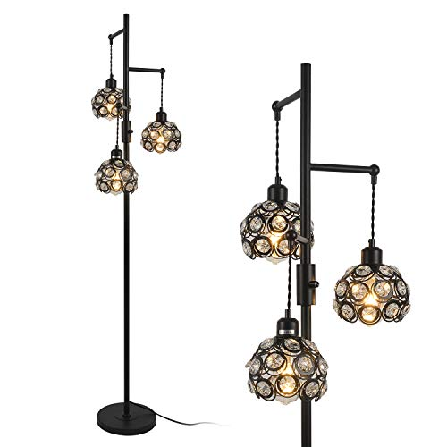 Stepeak Dimmable Tree Floor Lamp, Crystal 3 Light Tall Lamp Industrial Task Standing Light Sofa Light for Living Room, Bedrooms, Office 64 Inches…