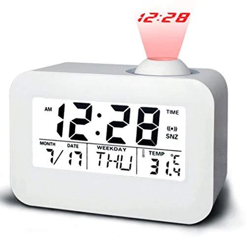 Wekker met digitale projectie klok met LED-nachtlampje Calendar, temperatuur, dag, datum View From nachtkastje wekker met snooze-functie