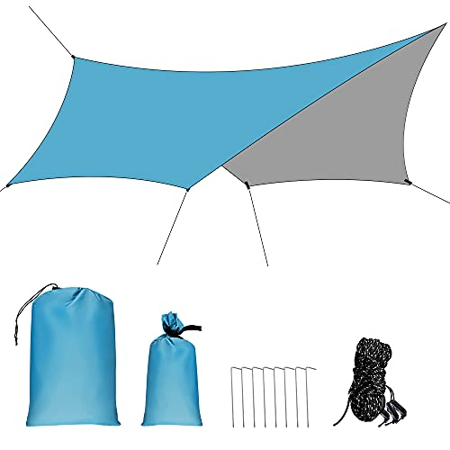 GROOFOO Camping Tarp 10x14.5FT, Waterproof Tent Tarp with Ropes and Nails, UV Protection Rainproof Shelter Portable Lightweight Sunshade for Hammock Survival Beach - Sky Blue